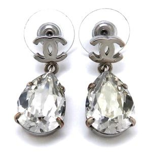 CHANEL Tear Pear Silver CC Hardware Crystal Drop